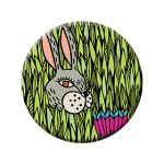 Badge Spring. Bunny in flowers