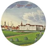 Cup coaster Treasures of Latvia. Panorama of Jelgava. C. 1840