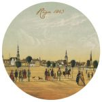 Cup coaster Treasures of Latvia. Panorama of Riga. 1863