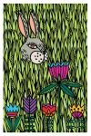 Postcard Spring. Bunny in flowers