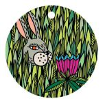 Gift tag Spring. Bunny in flowers